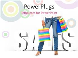 Elegant PPT theme enhanced with lady carrying three shopping bags over abstract background with colored circles