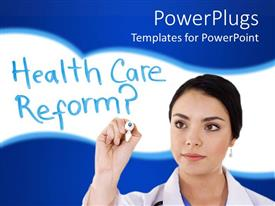Theme featuring lady doctor writing health care reform with a blue and white background