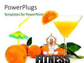 Presentation design featuring a lady doing yoga practise with oranges and a glass of juice