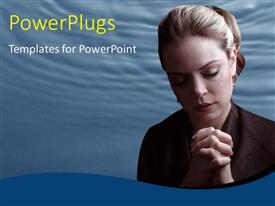 Colorful presentation theme having a lady with her eyes closed and hands clasped together and praying