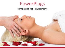 Colorful presentation design having lady having a spa massage on red and white rose petals
