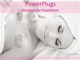 Colorful PPT layouts having a lady lying for spa with flowers on her chest