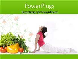 Elegant PPT layouts enhanced with a lady practising yoga with lots of fruits and vegetables