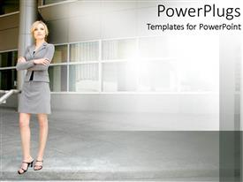 Presentation design enhanced with a lady standing in front of a building