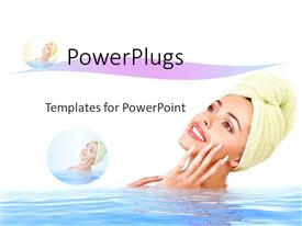Colorful slide set having a lady in the water with white background