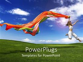 PPT theme having lady in white leaping for joy holding colorful scarfs