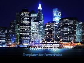 Beautiful presentation with landscape of lower Manhattan New York skyline at night