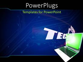 PPT theme having a laptop with technology related background