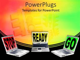 Audience pleasing slide deck featuring laptops with stop ready go words, stoplight background, red, yellow and green