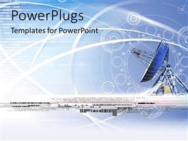 PPT theme featuring a large antenna dish with lots of images on a blue background