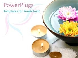 Audience pleasing presentation featuring large brown bowl with pink and white flowers and candles