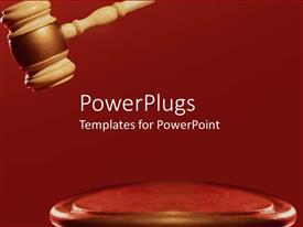 PPT layouts enhanced with a large brown colored gavel on a red surface