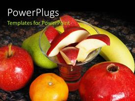 PPT theme enhanced with some large fruits around diced apples in a glass cup