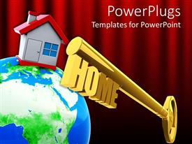 PPT theme consisting of a large globe with a house on it and a large gold colored key