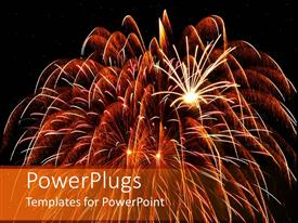 Audience pleasing PPT layouts featuring large glowing fireworks with large and small bursts of fireworks on black background