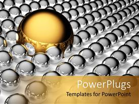 PPT theme enhanced with large golden steel ball and small silver steel balls