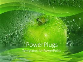 PPT layouts featuring large green apple with water drops all around it