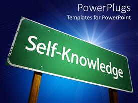 Presentation theme consisting of large green sign post with a Self Knowledge text