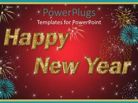 Amazing presentation design consisting of large happy new year text with fireworks and red background