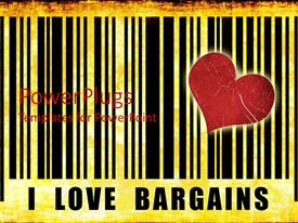 Presentation having large i love bargains text with red heart and black stripes
