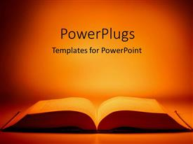 Colorful PPT layouts having large open book on table with orange light background