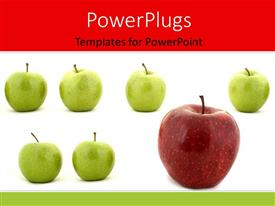 Theme enhanced with large red apple stands out in row of green apples
