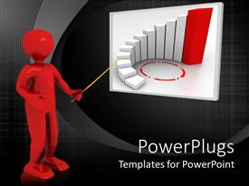 Elegant PPT theme enhanced with large red colored 3D character pointing at a white board