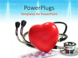 Presentation having a large red reflective heart on a stethoscope and pills