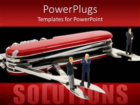 Utilities powerpoint templates ppt themes with utilities backgrounds presentation theme enhanced with large red utility knife with three people standing on its blades template size toneelgroepblik Choice Image