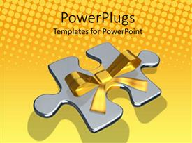 PPT theme having a large silver colored puzzle piece with a gold wrap