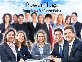 Elegant presentation theme enhanced with large team of business people smiling to the camera with five people sitting at the table and a team standing in the background