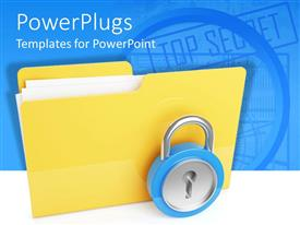 Elegant presentation theme enhanced with large yellow folder with a metal pad lock in front