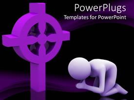 Amazing PPT layouts consisting of lavender figure kneels in prayer next to three dimensional religious symbol