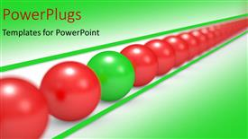 Presentation theme consisting of an arranged line of red colored balls with a green one in between