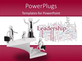 PPT layouts consisting of leadership concept on white background with different humanoids standing at different levels of hierarchy