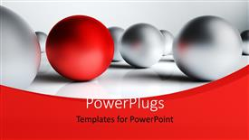 Presentation design having distinct red ball surrounded by chrome balls in white background