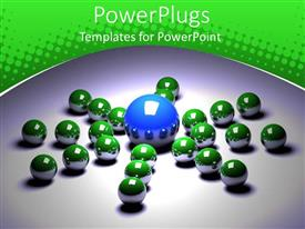 Elegant PPT theme enhanced with leadership metaphor with large blue ball surrounded by small green balls