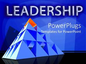 Colorful PPT theme having leadership theme with red triangle on top of pyramid, management, leader,  business