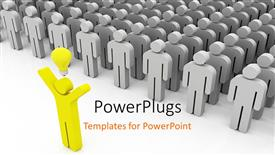PPT theme consisting of a leader with an idea and people following the leader