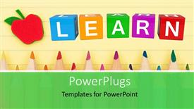 Slide deck enhanced with back to school depiction with colorful learn cubes and pencils