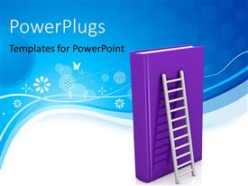 Elegant PPT theme enhanced with learning depiction with huge ladder leaning on large purple book