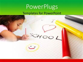 Colorful presentation theme having learning depiction with little girl writing in notebook with pencil