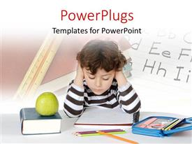 Colorful slide deck having learning depiction with young boy studying with learning tools on desk
