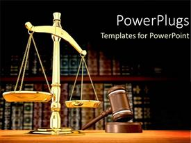 Amazing presentation design consisting of legal systems with a gold scale for justice and law as a metaphor on a brown background