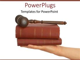 PPT layouts with legal theme with judges gavel on top of two law books