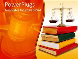 Slide deck featuring legal theme with scales of justice atop of legal books with red, yellow and green cover books