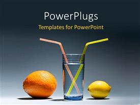 Colorful presentation theme having a lemon and an orange with a glass of water