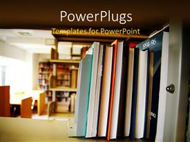 Colorful presentation theme having library with books and journal arranged on wooden shelve