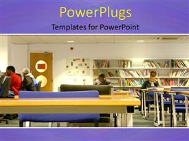 Powerpoint template a number of books in the library 3901 presentation featuring a library with some students studying in different positions toneelgroepblik Choice Image