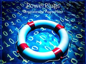 Colorful presentation theme having lifesaver tube placed on blue surface with binary codes